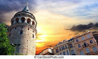 Galata Tower, Istanbul. Timelapse