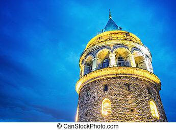 Galata Tower, night view.