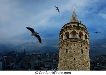 Galata Tower over the Golden Horn in Istanbul. Istanbul,...