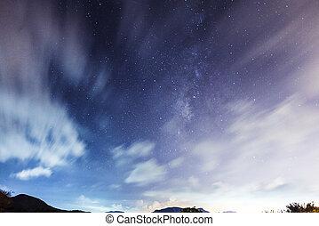 galax, med, stjärna, sky, om natten
