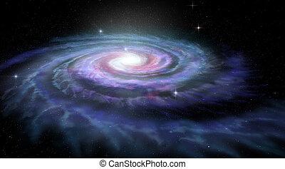 galax, spiral, väg, mjölkaktig