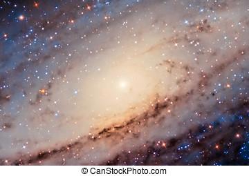 galaxia andrómeda, centro, capturado, con, un, aficionado,...
