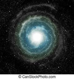 galaxia, exterior, espiral, profundo, espacio