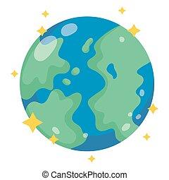 galaxie, dessin animé, style, espace, astromomie, terre planète