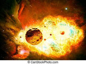 galaxie, espace, nébuleuse, art, fond, créatif, magique