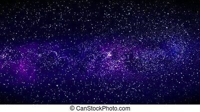 galaxie, galaxie, révéler, rotation, espace, animation, voler, profond, étoile, par, spirale, rendre, champs, space., way., nebulas, 3d, laiteux