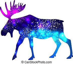 galaxie, silhouette, fond, espace, élan