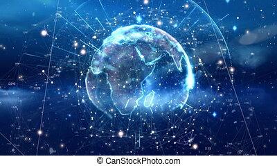 galaxie, vidéo, généré digitalement