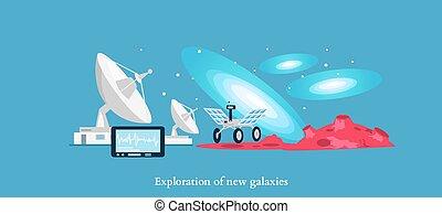 galaxies, nouveau, icône, isolé, exploration, plat
