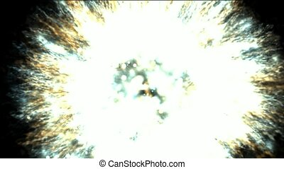 galaxy and cluster explosion in space, power energy release...