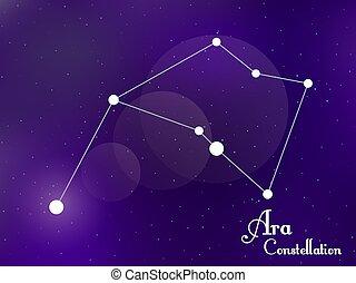 galaxy., ara, groupe, sky., étoiles, profond, nuit, illustration, constellation., vecteur, étoilé, space.