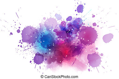 Multicolored watercolor imitation cosmos background with stars