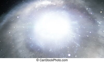 A conceptual representation of the birth of a galaxy and its stars.