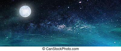 galaxy., entiers, manière, meublé, ceci, nasa), moon., ciel nuit, lune, étoiles, laiteux, (elements, image, paysage