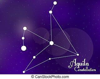 galaxy., groupe, sky., étoiles, profond, nuit, aquila, constellation., vecteur, étoilé, illustration, space.