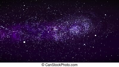 Galaxy in Deep Space. Spiral galaxy, animation of Milky Way. Flying through star fields and nebulas in space, revealing a spinning spiral galaxy, 3D rendering