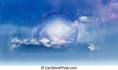 Galaxy inside crystal ball. Clouds in the sky