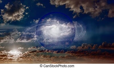 Galaxy inside crystal ball. Multiverse concept