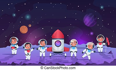 Galaxy kids. Cartoon children in open cosmos. Astronauts wear space suits with helmets. Adventures and scientific research. Boys and girls flew to planet on rocket, vector illustration