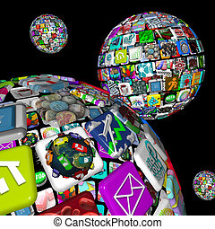 A galaxy of app planets, symbolized by several worlds of apps making up spheres, symbolizing the many opportunities for dowloading programs to mobile devices like smart phones and tablet computers