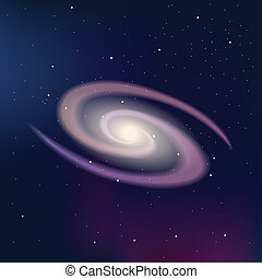 Galaxy on a dark night starry sky. Vector Illustration