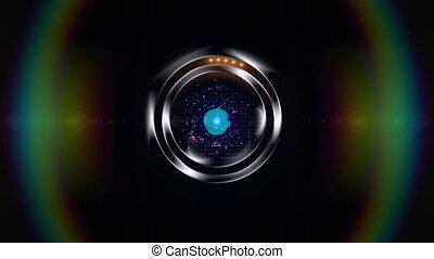 Galaxy Porthole - porthole with a galaxy simulation and lens...