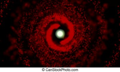 galaxy red, spinning clockwise, bright round particles