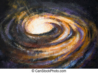 Galaxy - Spiral galaxy somewhere in deep space.Picture...