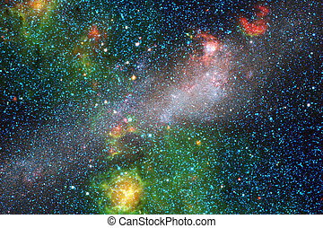 Galaxy, starfield, nebulae, cluster of stars in deep space. Science fiction art.