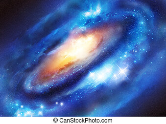 Galaxy System with a black hole at the centre of mass. ...