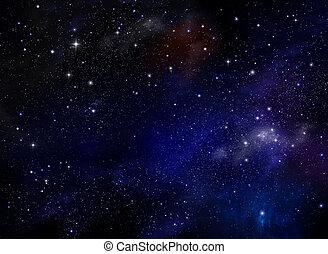 galaxy., univers, résumé, nébuleuse, -, étoiles, fond, nuit, rempli, ciel