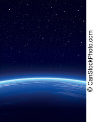 Galaxy with stars, horizon background