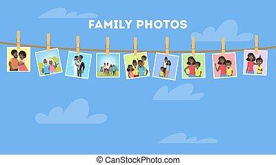 galería, marcos, familia , norteamericano, retratos, africano