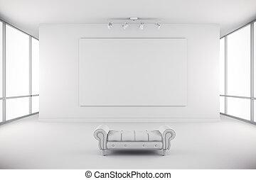 galerie, intérieur, murs, blanc, toile, moderne, 3d