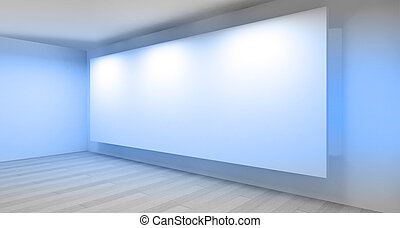 galerie, salle, vide, 3d