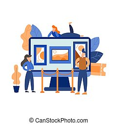 galerie, vecteur, interactif, exhibition., virtuel, musée, tours., mobile, guide, plat, application., illustration, art