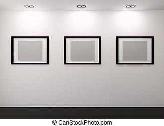 galerij, interieur, met, lege, lijstjes, op, muur