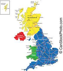 gales, mapa, escócia, inglaterra