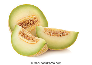 Galia melon in slices, isolated over white background.