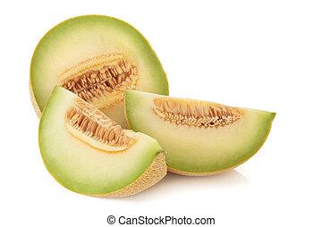 Galia Melon - Galia melon in slices, isolated over white...