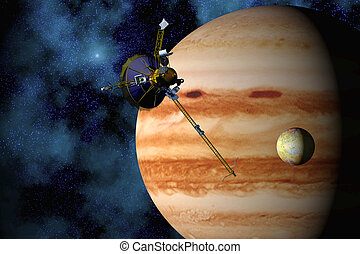 Jupiter, Io, and the Galileo space probe with star field background. 3D computer-generated image.