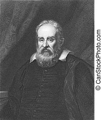Galileo Galilei (1564-1642) on engraving from the 1800s. ...