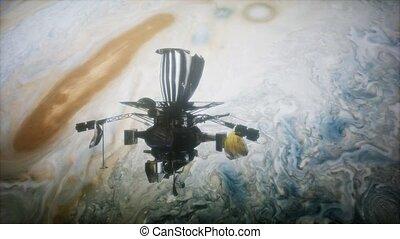 Galileo spacecraft orbiting Jupiter. Elements of this image...
