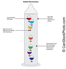 Galileo thermometer showing liquid filled glass bulbs...