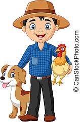 galinha, agricultor, jovem, caricatura, cão