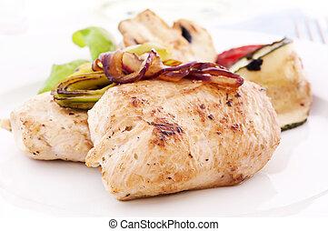 galinha, bife, cebolas