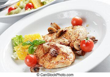galinha, bife, salada
