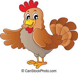 galinha, caricatura, feliz