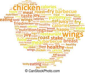 galinha, conceito, palavra, nuvem