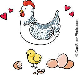 galinha, e, dela, sete, ovos, ligado, um, fundo branco